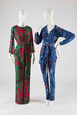 Saint Laurent Rive Gauche, pajama set, printed silk crepe, c. 1970, France, Museum Purchase; (right) Halston, pajama set, printed crepe de Chine, c.1976, USA, Gift of Ms. Gayle Osman.