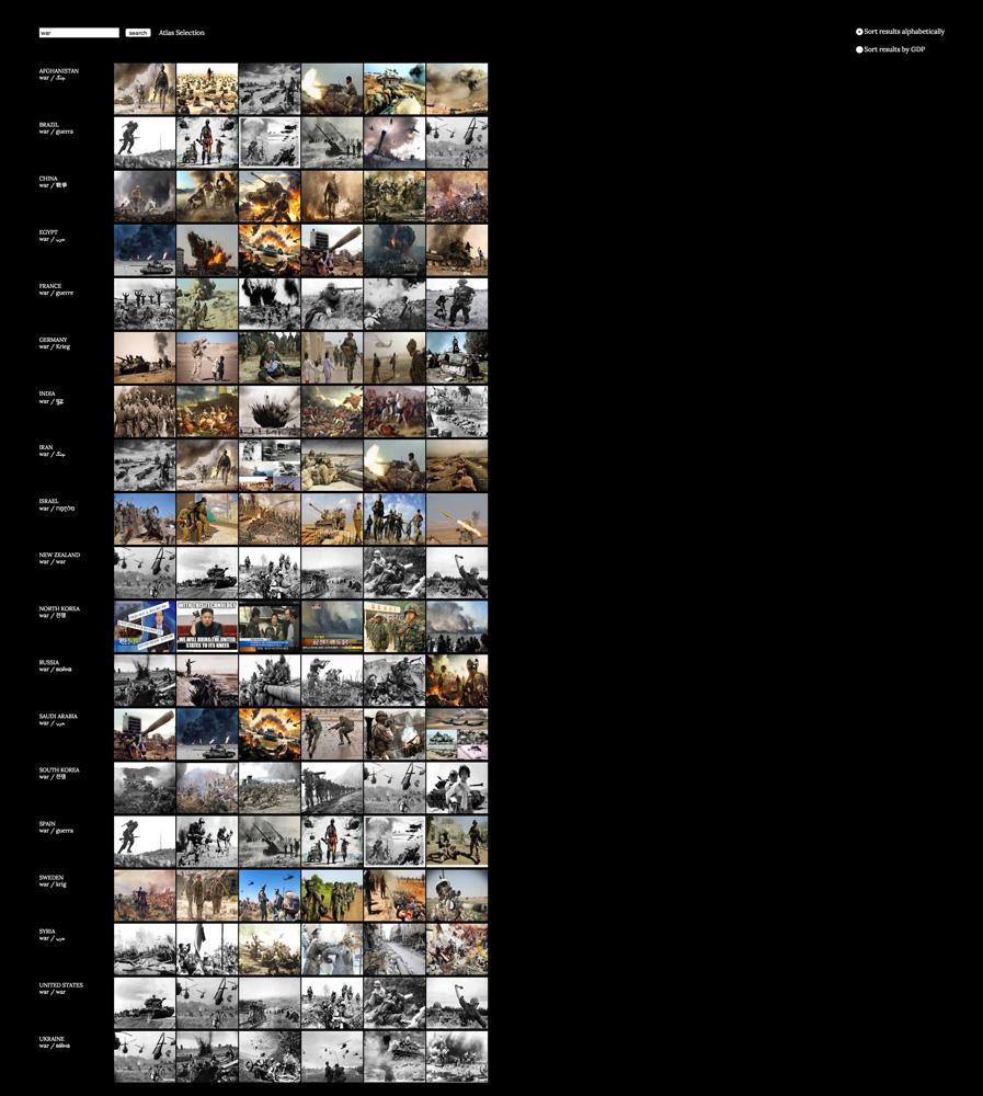 Taryn Simon, Image Atlas (War) (2012). Proyecto realizado en colaboración con Aaron Swartz. La imagen muestra fotografías arrojadas por diferentes buscadores de Internet para la palabra «guerra». © Taryn Simon. Cortesía de la Gagosian Gallery