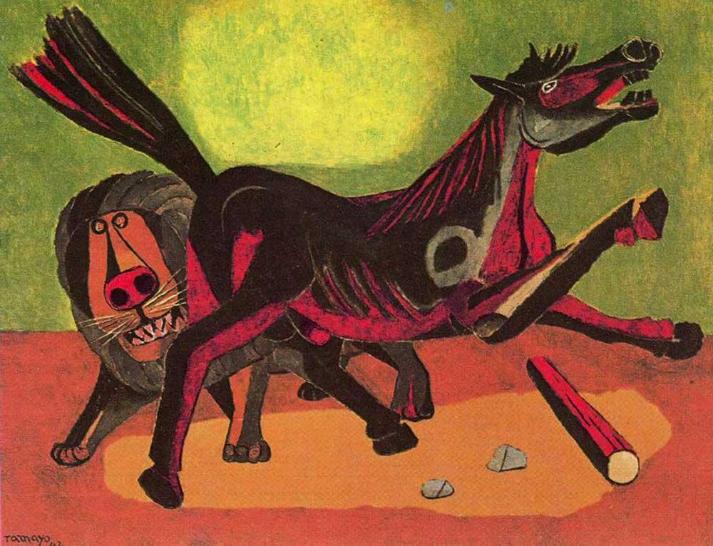Rufino Tamayo, León y caballo (1942)