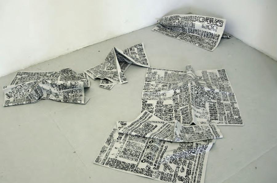 Pablo Vargas Lugo, Bonampak News(2006) en la exposición Rastros y Vestigios. Indagaciones sobre el presente en el Antiguo Colegio de San Ildefonso. Colección CIAC