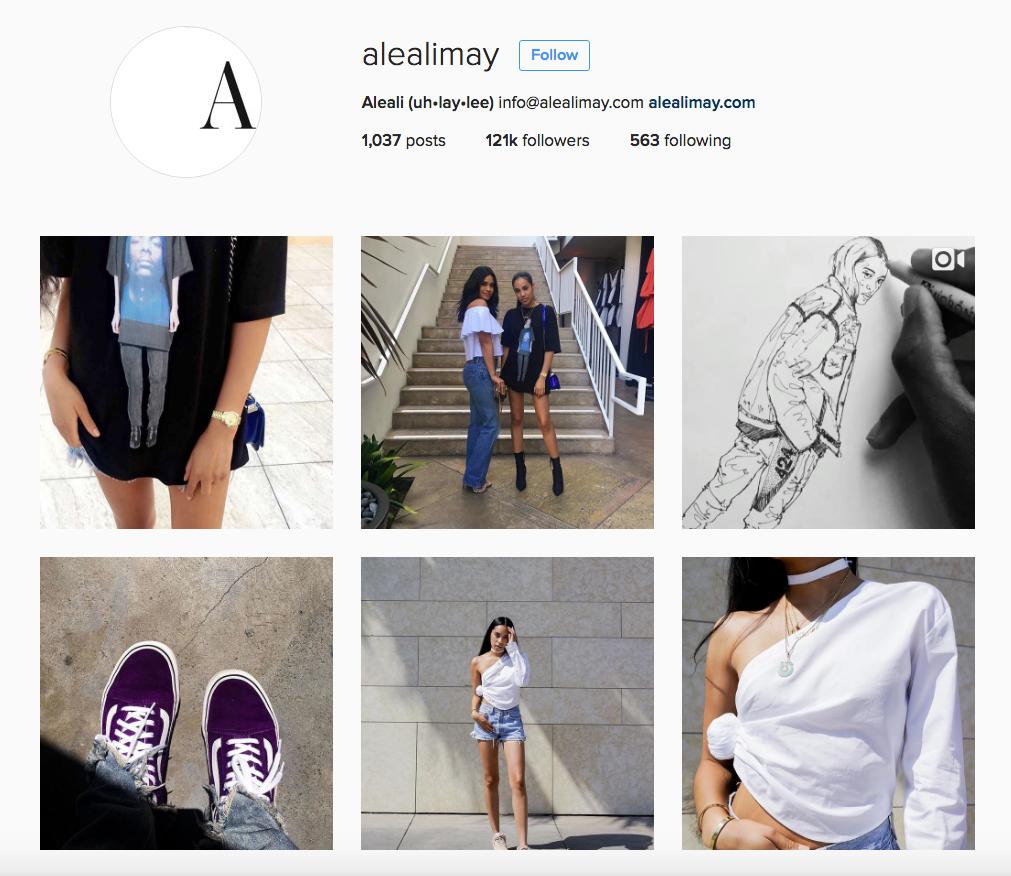 Cuenta de Instagram de la fashion blogger Aleali May