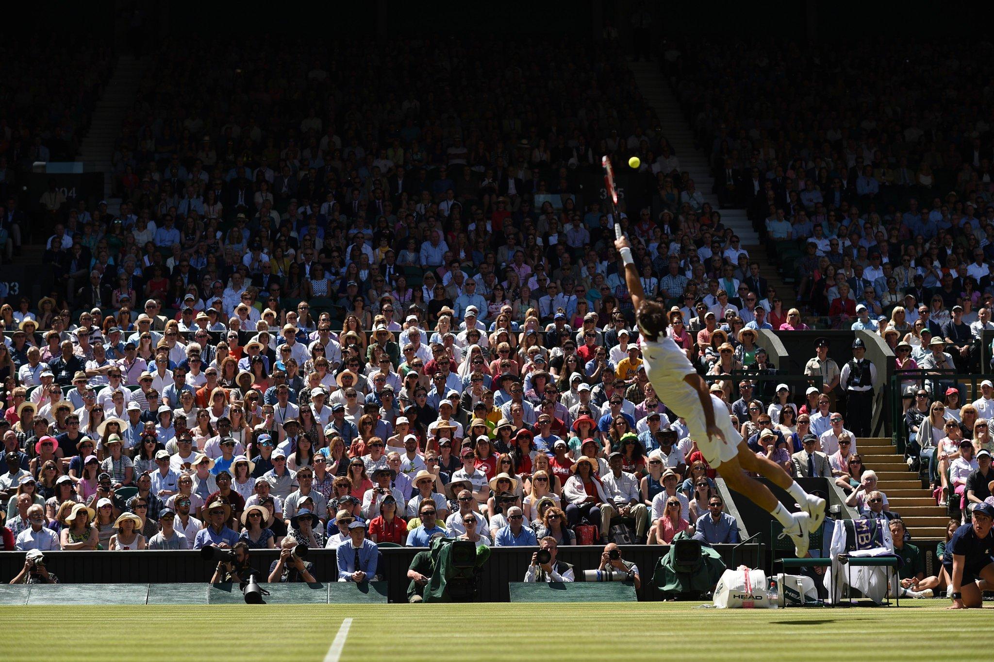 Roger Federer en el torneo de Wimbledon 2016. Cortesía del artista